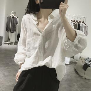 灯笼袖棉麻衬衫女士秋季宽松大款显瘦翻领韩国七分袖大码亚麻上衣