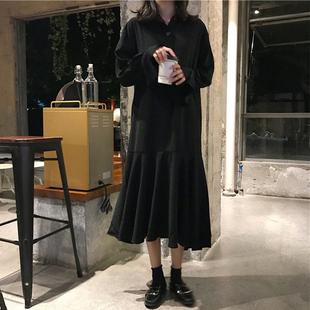 秋季2018新款女装连衣裙宽松中长款A字裙高腰黑色pp home裙子长裙