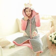 冬季法兰绒睡袍女冬加厚夹棉 韩版卡通可爱学生加长款珊瑚绒睡衣