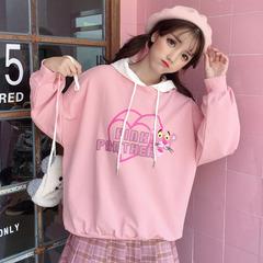 2018秋冬新款韩版宽松薄款卫衣女长袖连帽卡通可爱甜美学生上衣服