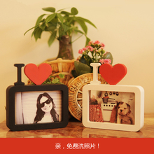 欧式家居创意心形爱情节日儿童礼物洗照片6寸7寸摆台组合连体相框