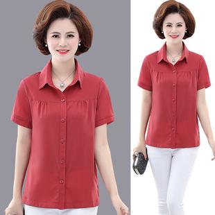 夏季2019新款中年女士妈妈装短袖女衬衫t恤上衣修身纯色棉质衬衣