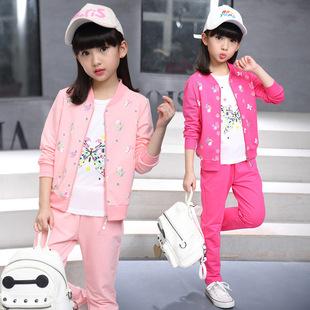 童装女童春装套装2017新款三件套儿童春秋运动装韩版女孩大童衣服