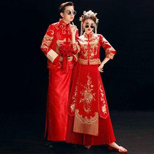 秀禾服新娘新郎装中式礼服结婚敬酒服情侣龙凤褂唐装红嫁衣中国风