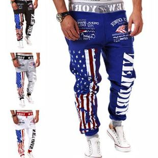 men s joggers hip hop pants sport sweatpants 男士印花运动裤