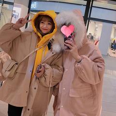 加厚工装外套女2018中长款冬季新款韩版bf宽松大毛领棉衣棉服学生