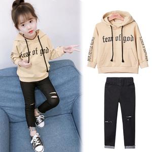 童装女童洋气套装秋装2017新款韩版儿童时尚卫衣宝宝长袖两件套潮杨桃