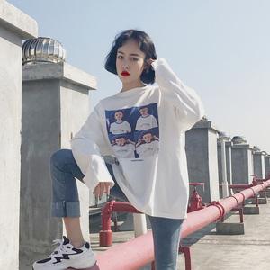 2018春秋新款长袖t恤女韩版学生宽松百搭上衣打底衫潮ulzzang bf女装T恤