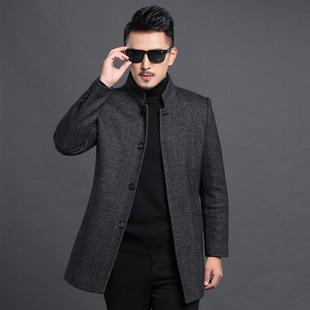 秋装冬装新款男士羊毛大衣中年商务男式开衫立领毛呢外套夹棉