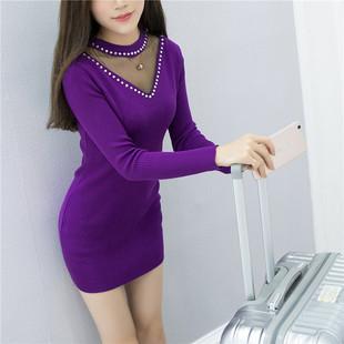 春秋女装新品套头毛衣中长款半高圆领针织打底衫连衣裙女包臀上衣