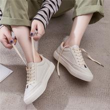 皮面小白鞋女鞋春季2018新款百搭平底韩版学生基础帆布鞋秋季白鞋
