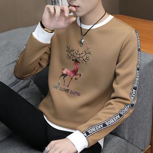 新款男士长袖t恤圆领加厚秋冬上衣服青年帅气潮流卫衣加绒打底衫