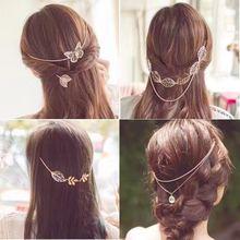 韩国仙女女神范蝴蝶花树叶后挂后背式盘发梳头箍发箍韩式发带