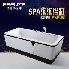 法恩莎卫浴五件套浴缸新款洗澡盆黑白浴盆亚克力冲浪按摩缸FC092Q