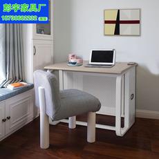 电脑网吧办公桌卧室客厅单人实木防火板材桌面金属框架机箱带锁