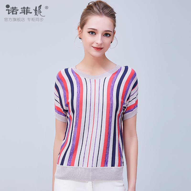 诺菲妮品牌女装2018年夏装新款女竖条纹桑蚕丝针织衫女短袖上衣图片