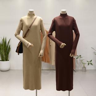 半高领弹力坑条套头毛衣裙秋冬新款女长裙显瘦百搭打底针织连衣裙