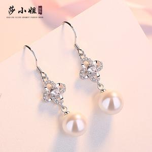 莎小姐s925银时尚耳环女日韩气质贝珍珠镶钻精美耳钉简约银耳饰品