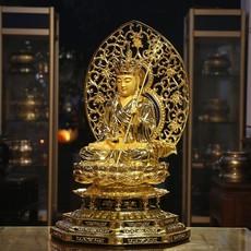 2017圆通佛具台湾宝华纯铜鎏金地藏王佛像娑婆三圣地藏王菩萨铜雕