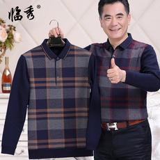 冬装中老年爸爸毛衣男针织假两件加绒加厚毛衫40-50岁中年人男士