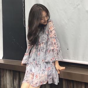 魏好涵 2018年夏季新款宽松气质荷叶边碎花雪纺连衣裙女CND73011连衣裙