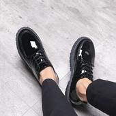 冬季皮鞋男韩版潮流百搭休闲鞋学生英伦小皮鞋亮皮加绒保暖棉鞋子