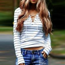 Top Quality Autumn Women T-shirts Striped Long Sleeve V-Neck