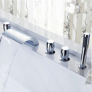 Deck Mounted Waterfall Roman Bathroom Tub Faucet Hand Shower