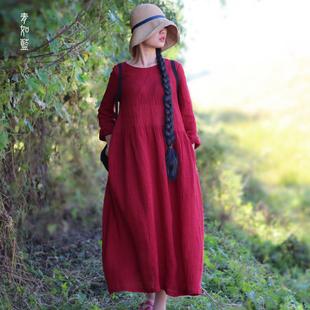2018秋新款棉麻文艺复古长袖连衣裙女宽松亚麻长裙过膝红色田园风
