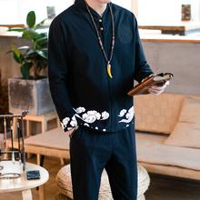 休闲 中国风男装 子刺绣花印花纹图案云民族复古风汉服装 套装 衣服裤
