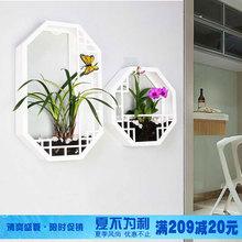 墙壁装 中式壁饰客厅背景家居装 饰品玄关挂件墙饰软装 饰壁挂花盆