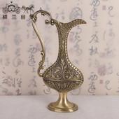 俄罗斯青铜浮雕复古扁花瓶海外特色手工艺品扁壶摆件家居摆设大号
