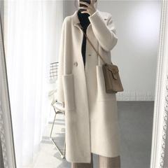 2018秋冬新款韩版中长款宽松加厚水貂绒大衣毛衣外套女针织开衫潮