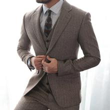 原创咖啡色人字纹西装 两件套复古羊毛呢西服套装 脊椎动物男装 西裤