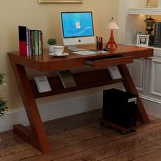 简约台式家用电脑桌纯实木书桌书架组合Z字型学习桌写字台办公桌