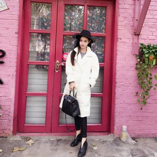 原创女装新款2016冬季轻薄羽绒服女过膝中长款宽松喇叭袖气质外套