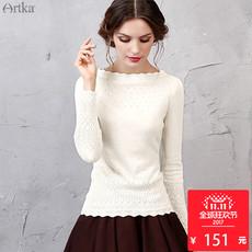 阿卡秋装新款一字领套头修身打底针织衫毛衣女白色上衣YB11255Q