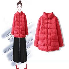 画续原创复古民族风宽松盘扣立领短款羽绒棉棉衣外套大码冬季女装