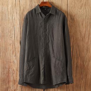 春季中国风男式纯亚麻衬衫休闲宽松双口袋民族风复古衬衣大码青年