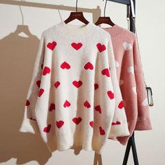 慵懒风爱心网红毛衣套头很仙洋气上衣水貂绒宽松百搭海马毛加厚女