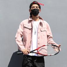 牛仔外套2017男装粉色夹克欧美嘻哈街头简约修身多口袋工装外套男