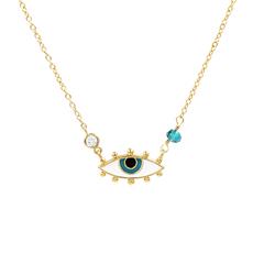 希腊设计辟邪之眼恶魔之眼项链韩版简约学生短款女锁骨链