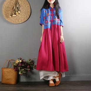 中国风复古盘扣棉麻连衣裙女短袖夏装休闲宽松刺绣民族风连衣长裙