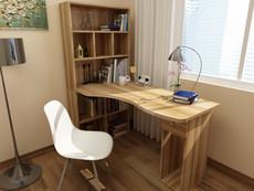 家用简约电脑桌转角台式带书柜书架书桌组合成人办公桌儿童学习桌