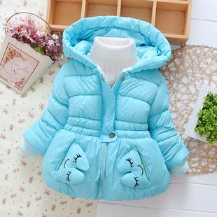 女宝宝棉衣女童中长款儿童棉服女小童冬季外套1-6中小童加厚棉袄