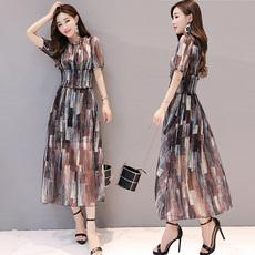 花色雪纺连衣裙女长裙2017夏季新款时尚韩版显瘦夏天短袖长款裙子