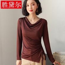 新款韩版淑女修身堆堆领纯色抽绳大码长袖上衣棉纯色打底衫t恤女