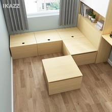 现代简约主卧定制整体储物床卧室地台床榻榻米床 魔方积木储物