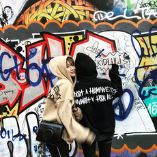 冬季韩国韩版原宿bf风宽松加绒加厚套头连帽中长款带帽情侣卫衣女