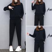 女装 时髦两件套休闲套装 针织衫 洋气哈伦裤 欧洲站春装 新款 2018韩版